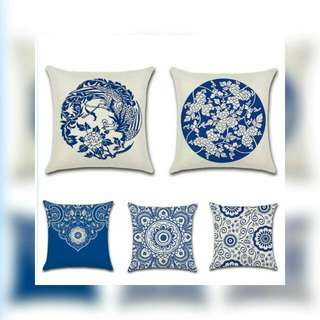 Set Of 5 White & Blue Chinese Porcelain Cushion Cover Only 45cm x 45cm
