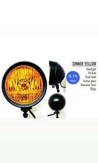 Motorbike/ Caferacer Headlight/ Lamp Sinner Yellow