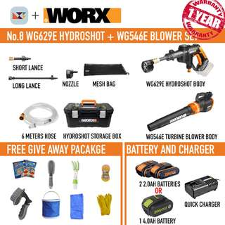 WORX WG629 Hydroshot + WG546 Turbine Blower Set