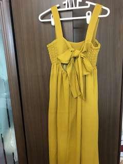 🚚 芥末黃 露背綁帶長洋裝