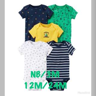 🚚 Brand New Carter's 5-Pack Short Sleeve Bodysuits For Baby Boy