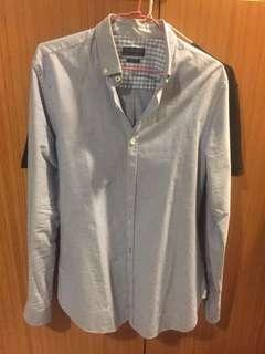 🚚 zara 牛津 襯衫 藍色 s號偏小 適合瘦哥 經典不退流行款式 九成以上