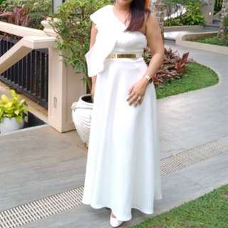 White Long Gown Medium-Large
