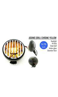 Motorbike/ Caferacer Headlight/ Lamp Adonis Grill Yellow Chrome