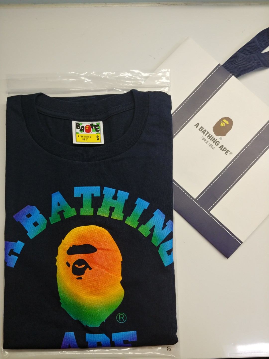 62a69b09 Bape Black Rainbow College Tee, Men's Fashion, Clothes, Tops on ...