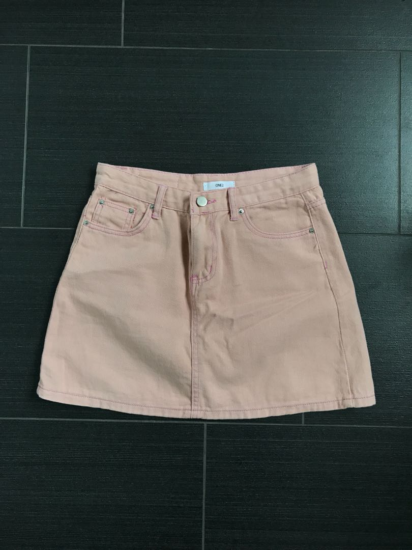99658f66bc BN uzzlang pastel pink denim skirt, Women's Fashion, Clothes, Pants ...