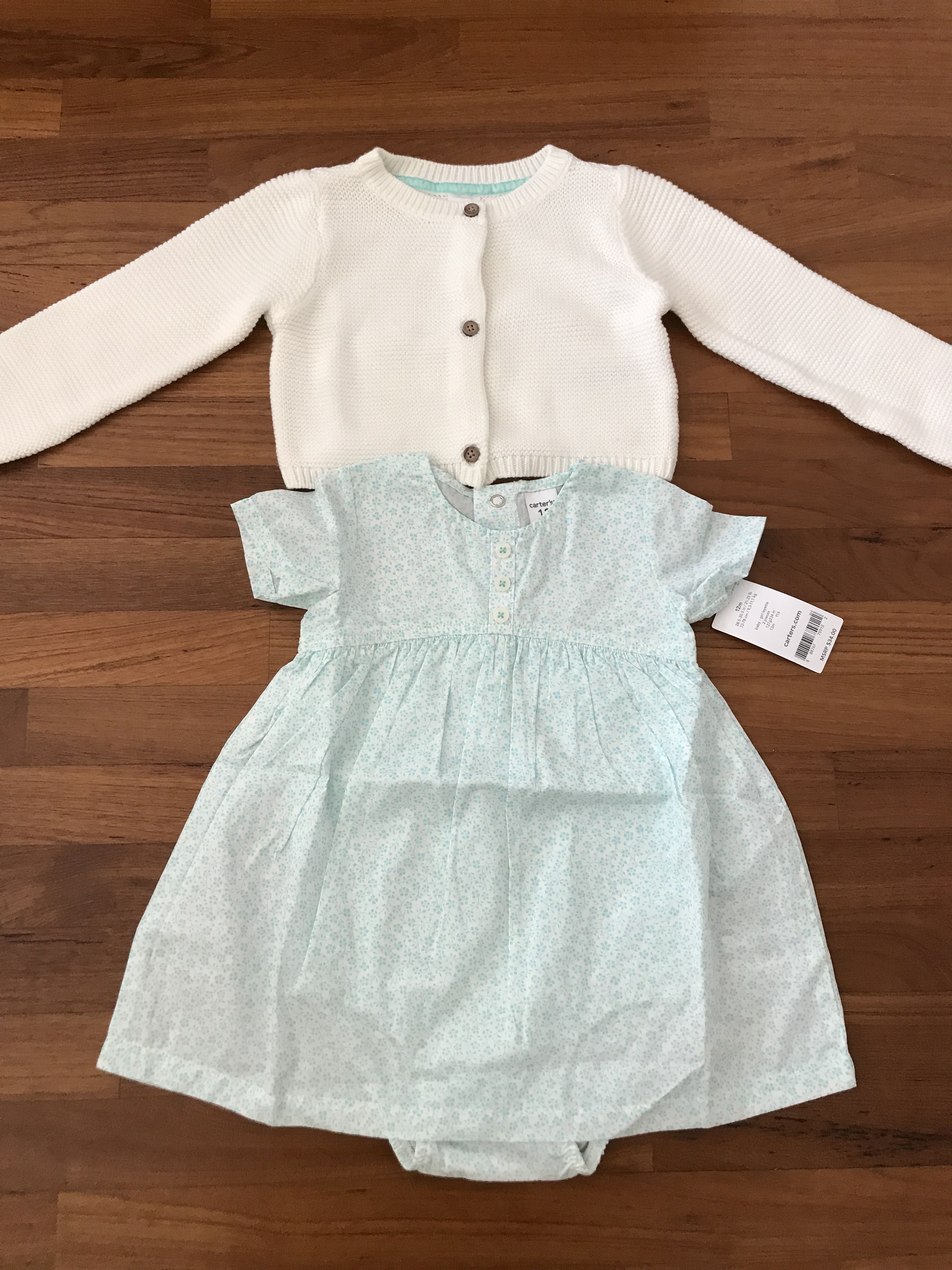 Brand New Carters 2 Piece Poplin Dress And Sweater Babies Kids Jumper 5 In 1 Apparel On Carousell
