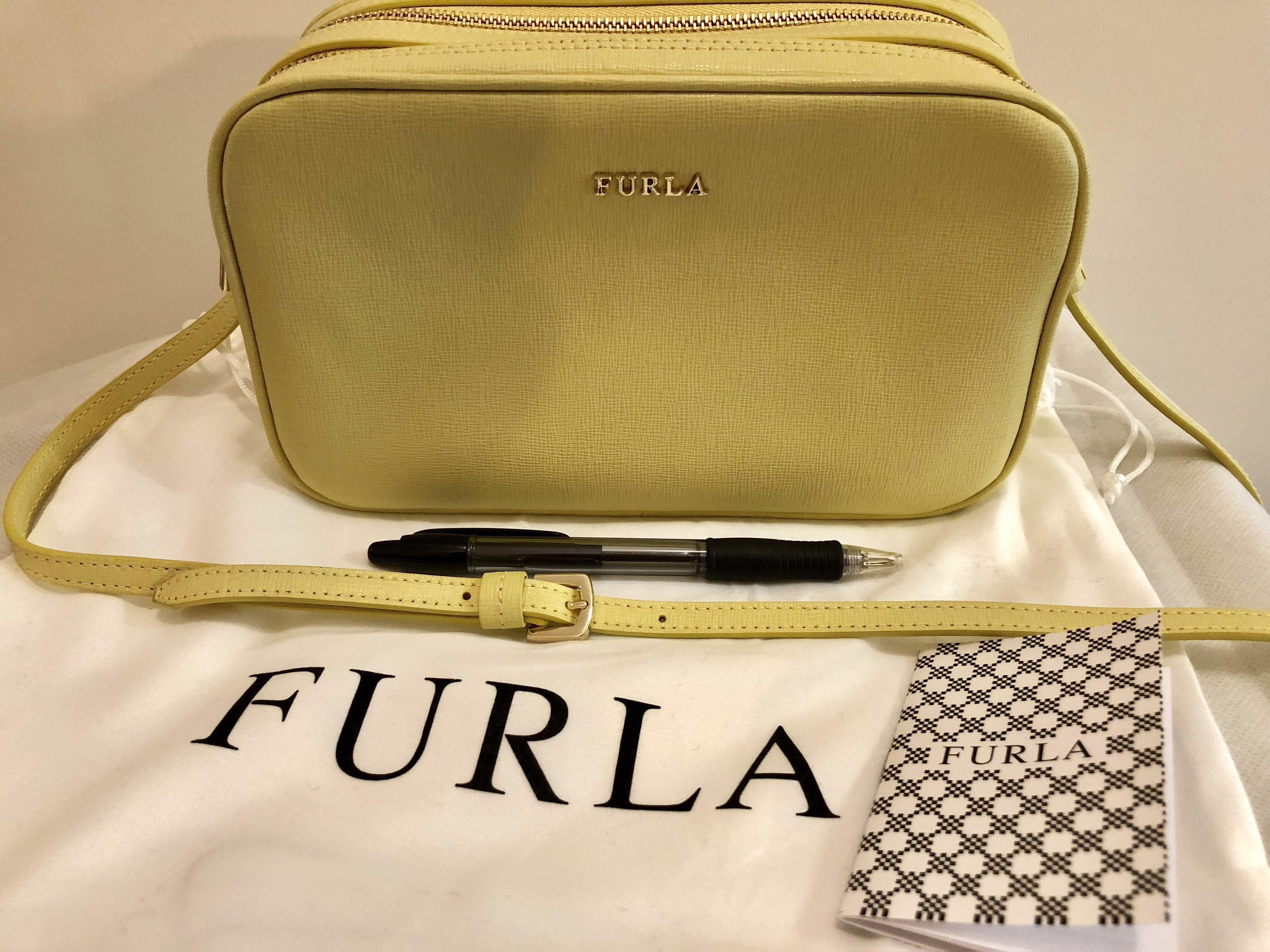 size 40 the latest undefeated x sellmybags Furla Lilli yellow leather double zip crossbody ...