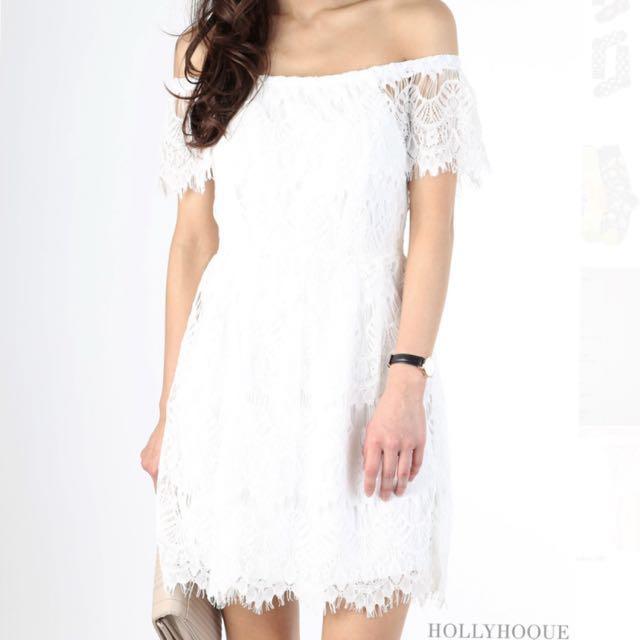 Hollyhoque White Lace Off Shoulder Crochet Dress Womens Fashion
