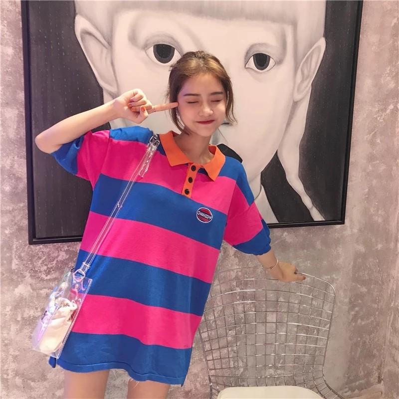 d241ce31a INSTOCK] korean ulzzang retro 90s striped polo tee, Women's Fashion ...