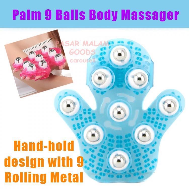 Instock Palm 9 Balls Body Massager Glove Hand Held Stress Tension