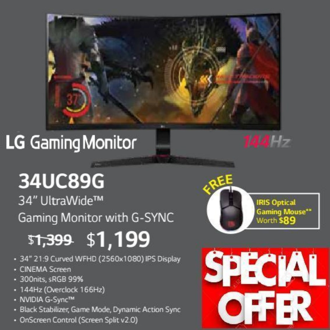 "LG 34UC89G 34"" UltraWide™ Gaming Monitor with G-SYNC   ,"
