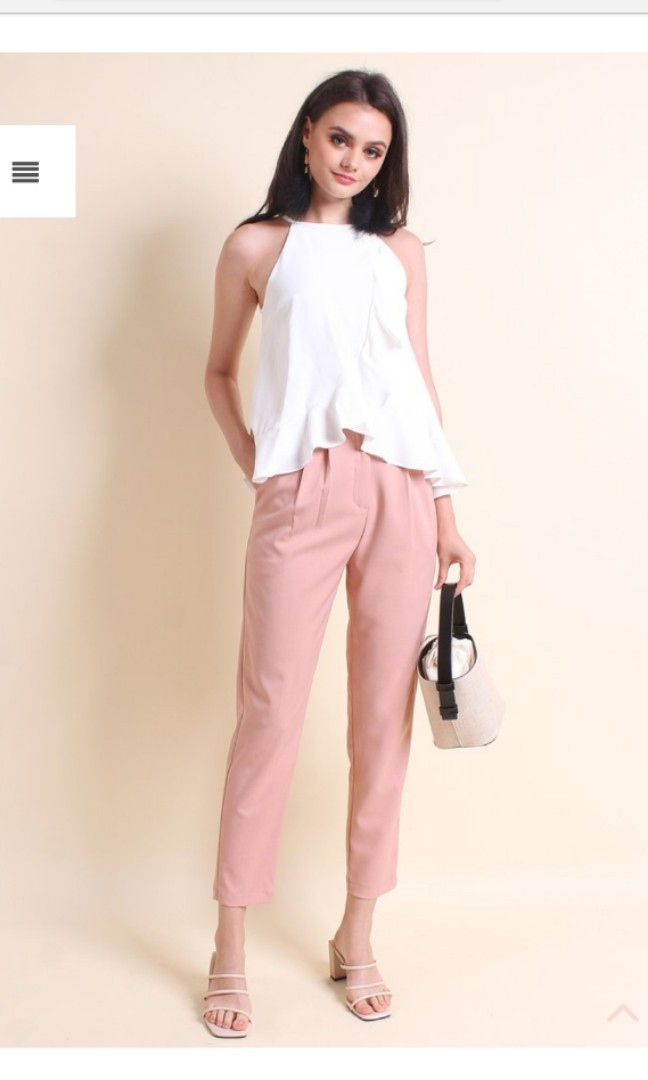 cb110a38c5182 MADEBYNM AGATHA HIGH WAIST CROPPED PANTS IN SALMON PINK
