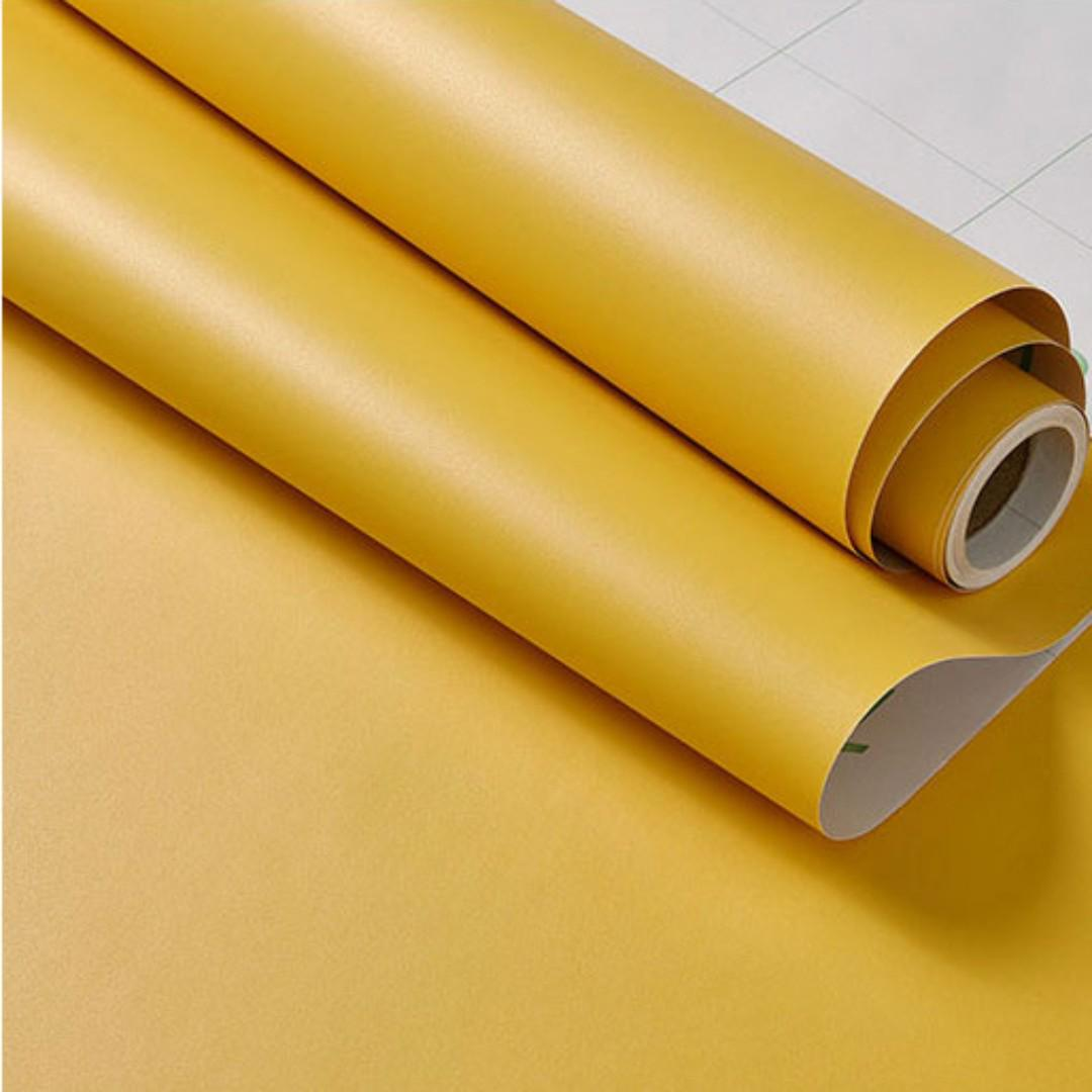 Matte Yellow Contact Paper Wallpaper Self Adhesive