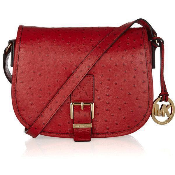 Michael Kors Ostrich Effect Leather Saddle Bag Luxury Bags Wallets Sling On Carou