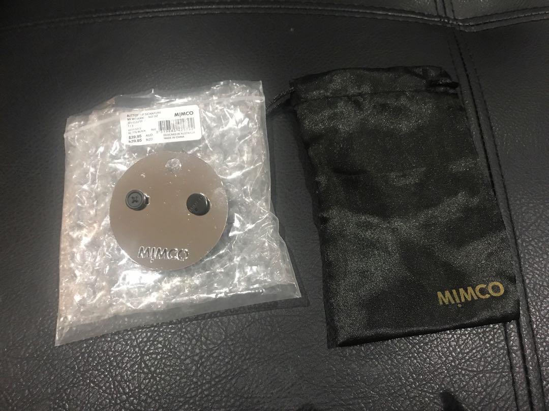 Mimco black botton signature earrings