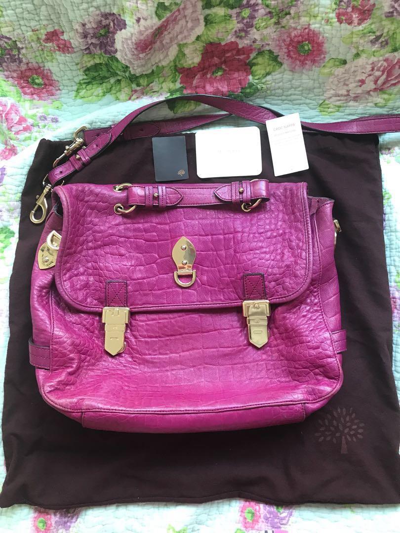 Mulberry pink leather Tillie satchel messenger sling bag strap ... 2cce87f32e4a8