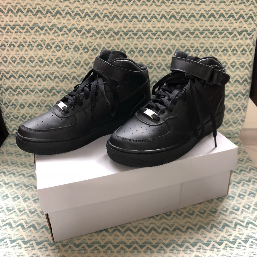quality design a6666 aa6e4 Nike Air Force 1 Mid Black Authentic, Women s Fashion, Shoes ...