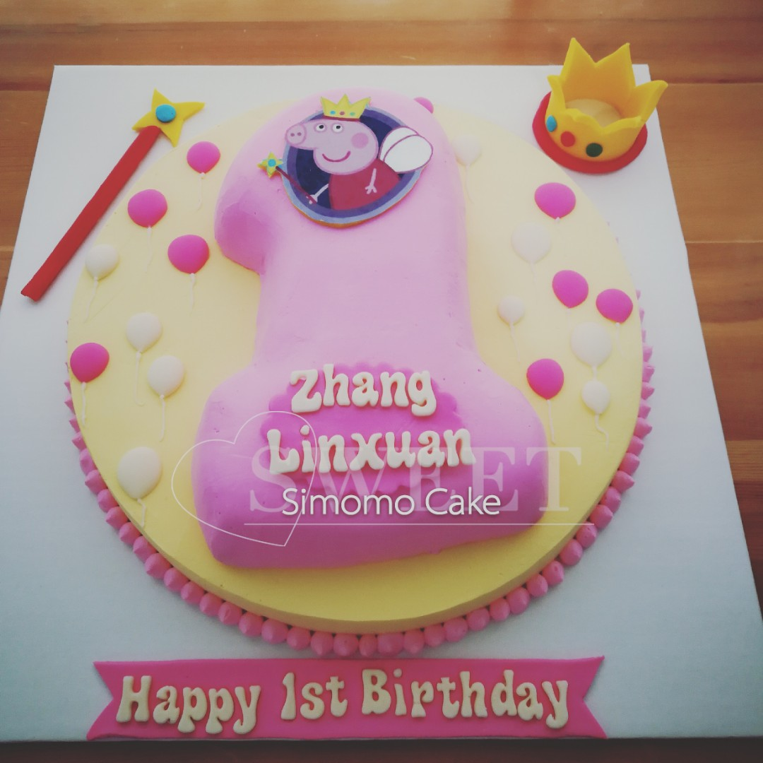 Number Cake Birthday Peppa Pig Pink For Girls Food