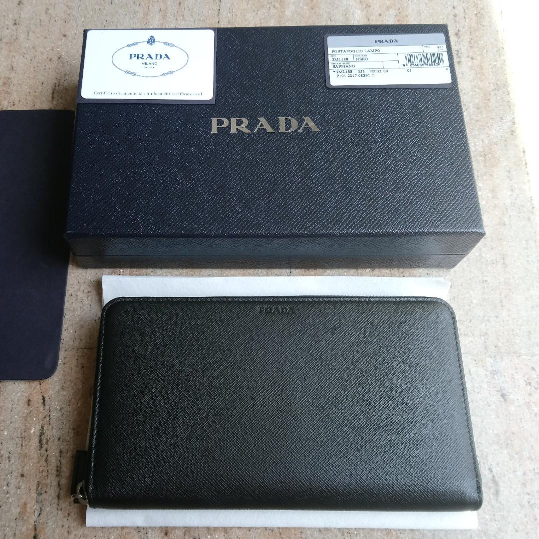 Prada Black Saffiano Leather Document Holder Travel Wallet (黑色長銀包)