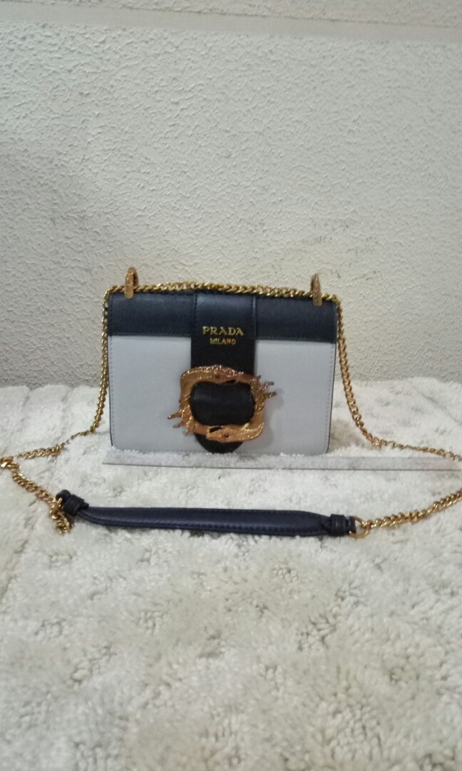 bda88b56e4ae Prada Cahier City Embellished Snake Buckle Shoulder Bag