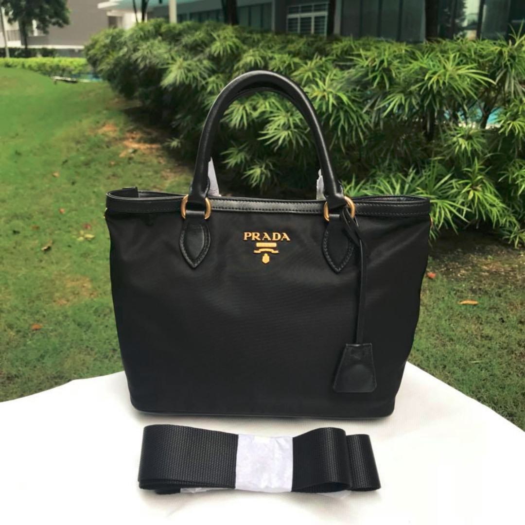 1068d8366e Prada Tessuto and Saffiano Nylon Black Small Tote Bag
