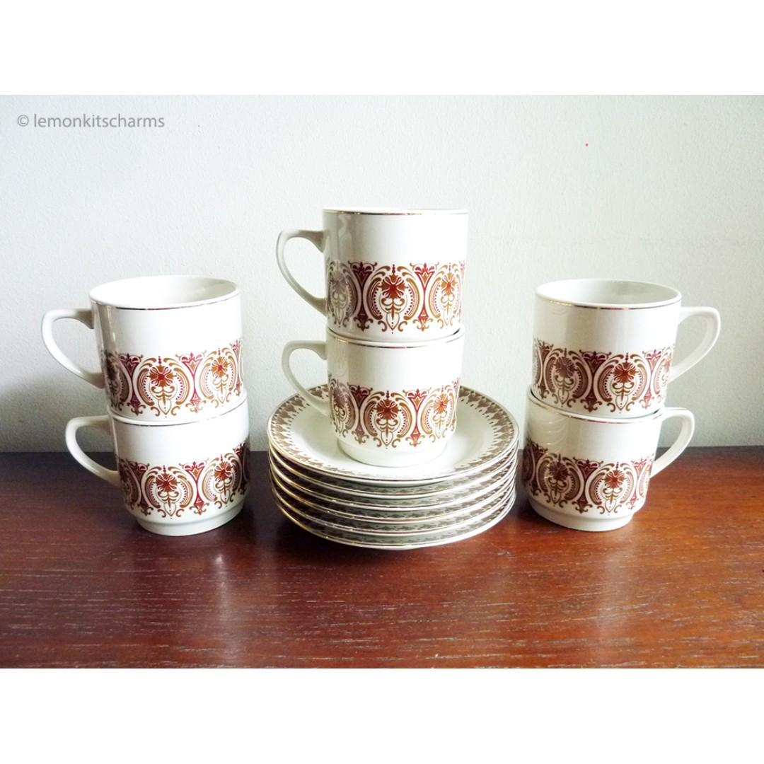 Vintage Kun Lun Stoneware Teacup Saucer Set 6pc Home Appliances Kitchenware On Carousell