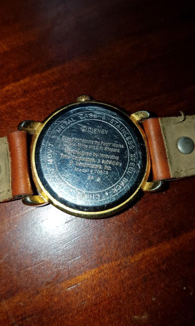 Vintage Winnie The Pooh Ladies Watch × Genuine Brown Leather Authentic Disney