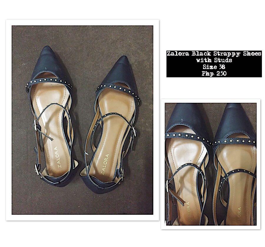 99ba2db947e72c Zalora Black Strappy Sandals with Studs