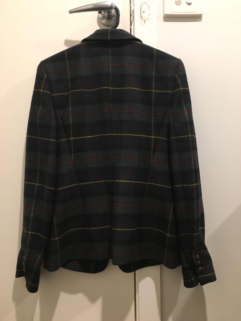 ZARA tartan check print blazer jacket - size S