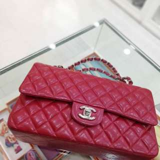 Chanel 草莓紅荔枝牛皮雙蓋Classic Flap 🍓hkd 2xxxx