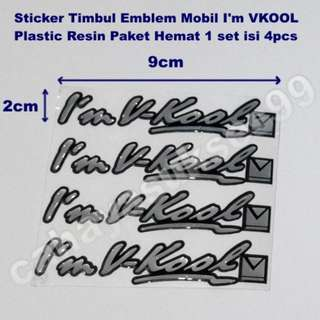 Sticker Timbul Im VKOOL 9cm X 2cm Stiker Kaca Mobil Cutting Decals Plastic Resin Paket Satu Set Isi 4pcs New Ready Stock