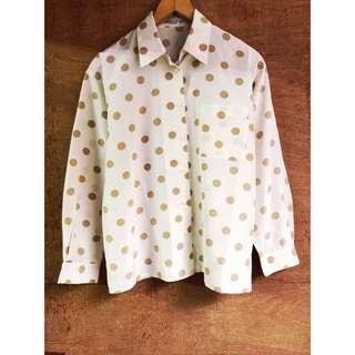 日本古著🇯🇵文青風點點口袋挺版襯衫