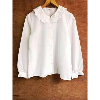 日本古著🇯🇵超美精緻立體花領襯衫