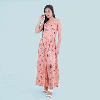 HTP Peach Floral Slit Maxi Skirt
