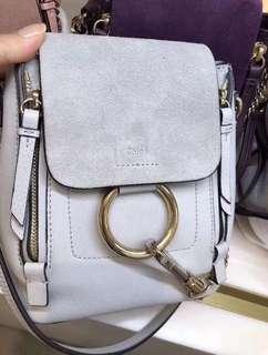 「保證真品」Chloe faye backpack 白色 淺灰色