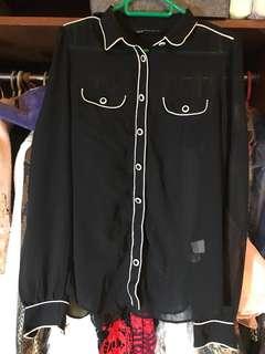 Zara basic Shirt 黑白型仔上班恤衫 lady