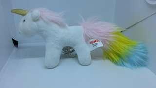 "Brand New 8.5"" Gund Unicorn Pony Horse Figurine Plush Stuffed Soft Toy Keychain Bag Charm (White)"