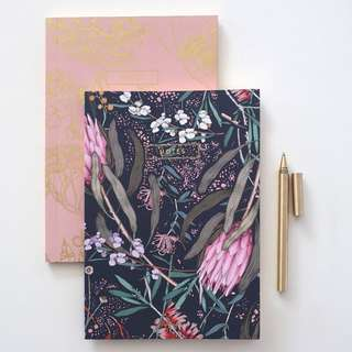 Botanical print gold foil notebooks