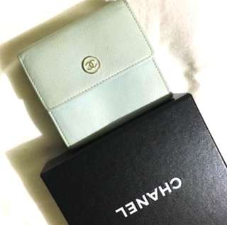 Chanel Wallet mint color Vintage style Three fold design