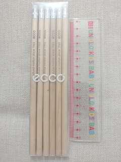 Ecco 鉛筆6支 + Uniqlo 15cm長間尺 (全新)
