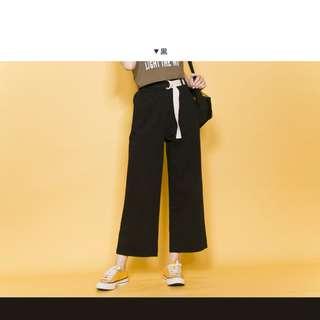 LuLu's 鬆緊寬褲附腰帶 黑