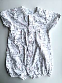 PRELOVED CHICCO Baby Girl Pink Bunny Pattern Romper - in good condition