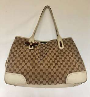 Authentic Gucci Beige/Ebony GG Canvas Princy  Large Tote Bag 161719
