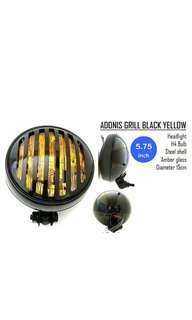 Motorbike/ Caferacer Headlight/ Lamp Adonis Grill Black Yellow