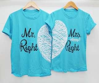 Mr and Mrs Right Kaos Couple. Harga utk 2 baju