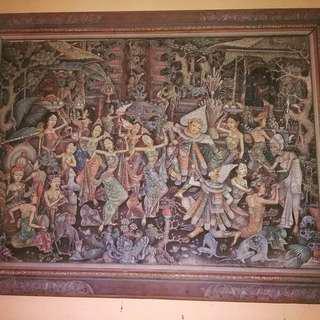 Lukisan bali timbul vintage