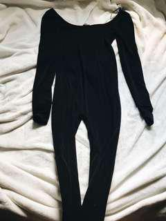 Black fitted bodysuit