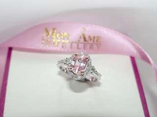 夢幻 粉紅寶 鑽石 18K 戒指