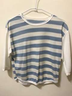 🚚 水藍條紋 (七分袖)